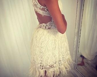 Short Wedding Dress, Short Lace Wedding Dress, Beach Wedding Dress, Second Bridal Dress, unique wedding dress, wedding gown, bridal dress
