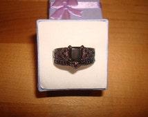 Square Cut Diamond Cut Black Onyx 10Kt Black GF Engagement Wedding Ring Set Size 6