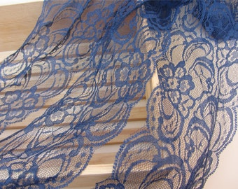 Navy lace trim in 3yards,scalloped edge lace , navy blue lace trim , scalloped gift ribbon