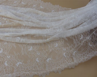 "black eyelash Lace Fabric ,off  White Chantilly Lace fabric  for wedding 57"" width 3 yards"
