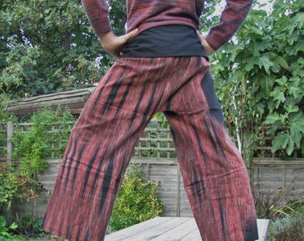 "Handwoven ""FIRE EFFECT"" 100% cotton thai fisherman pants."