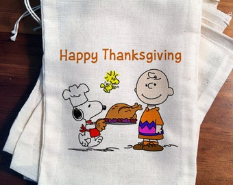 4 Charlie Brown Thanksgiving Bags.  Drawstring candy treat favor bags  3x5 4x6 5x7 6x8 7x9 7x11