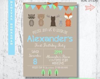 Woodland Forest Friends Invitation.Woodland Birthday Invitation.Forest Animals Invitation Party Invites.Fox Party Printable.Custom.Printable