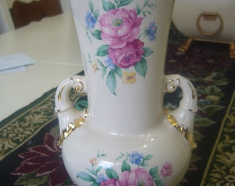 Spaulding China Vase, Decorated with Roses and Gold Trim.