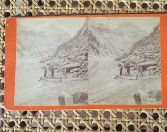 Vintage Stereoscopic Card Stereoscopic Views of Two Men Fishing In The Grand Canon OnThe Colorado By Ben Wittick