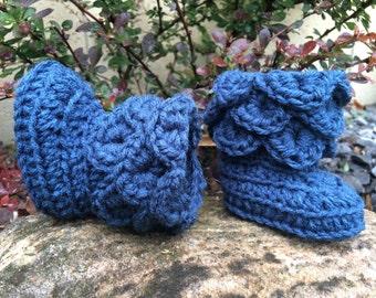 Crocheted infant/newborn girl boots - ruffled cobalt blue