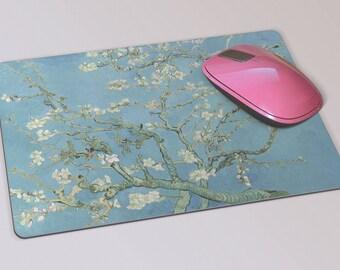 Fabric Mousepad, Mousemat, 5mm Black Rubber Base, 19 x 23 cm - Almond Blossoms by Impressionist Artist Vincent Van Gogh Mousepad Mousemat