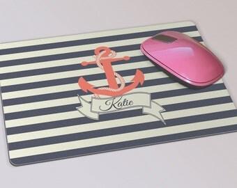 Fabric Mousepad, Mousemat, 5mm Black Rubber Base, 19 x 23 cm - Nautical Stripes & Anchor Personalised Mousepad Mousemat