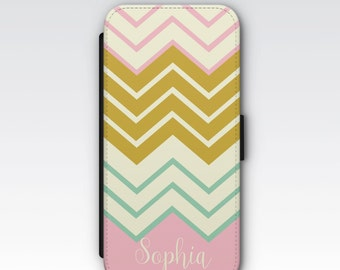 Wallet Case for iPhone 8 Plus, iPhone 8, iPhone 7 Plus, iPhone 7, iPhone 6, iPhone 6s, iPhone 5/5s - Pink Chevron Personalised Wallet Case