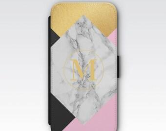 Wallet Case for iPhone 8 Plus, iPhone 8, iPhone 7 Plus, iPhone 7, iPhone 6, iPhone 6s, iPhone 5/5s - Pink, White Marble & Gold Monogram Case