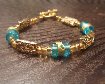Blue and Gold Beaded Bracelet w/ Toggle Clasp