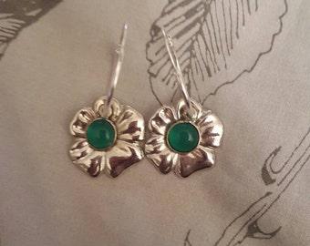 Floral Earrings w/Green Charm