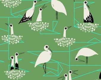 In Stock! Fat Quarter Stork Nest in Green -- From Porto With Love by Sara Watts for Cotton and Steel