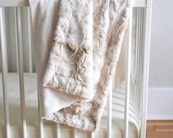 Fur Baby/Toddler Blanket in Neutral Tones