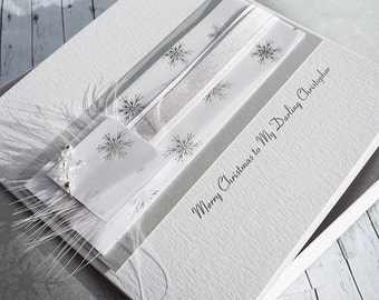 Luxury Boxed Christmas Card for husband, wife, mum, dad, brother, sister etc- 'Silver & White'