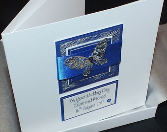 Personalised Boxed Wedding Day Card for Son, Daughter, Husband, Wife, Grandson, Grandaughter etc Royal Blue Butterfly