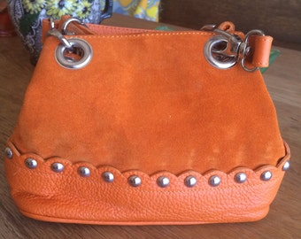 Gorgeous Cuoieria Fiorentina Orange Suede and Leather Bag. Rarely Used, and a Beautiful Color.