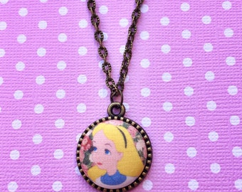 """Handmade """"Floral Print Alice"""" Vintage Floral Print Alice in Wonderland Inspired Necklace with Bronze Setting"""