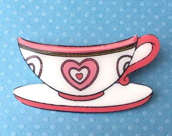 "Handmade ""Pink Heart Teacup"" Mad Tea Party Teacup Brooch - Alice Wonderland Inspired"