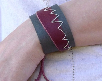 Gray & Maroon Leather Cuff Bracelet Primitive Tribal Design
