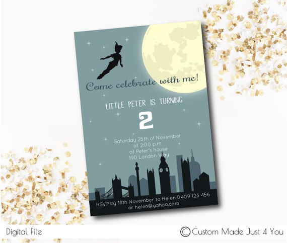 peter pan birthday party invite