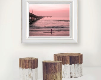 Photograph - Sunset Pier Blue Ocean Beach Wave Tranquil Calm Fine Art Photography Print Wall Art Home Decor