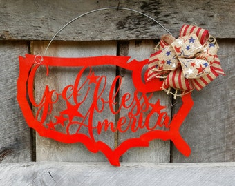 God Bless America Door Hanger - Patriotic Wreath - Fourth of July Door Hanger - July 4th Wreath - Independence Day