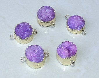 Purple Druzy Connector - Small Round  Druzy Connector - Quartz Agate,  Druzy Agate Quartz Connector.  Druzy Link - Gold Plated.  15mm -17mm