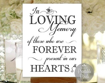 In Loving Memory In Honor Remembrance Printable Wedding Sign Memory Table Instant Download (#MEM3B)