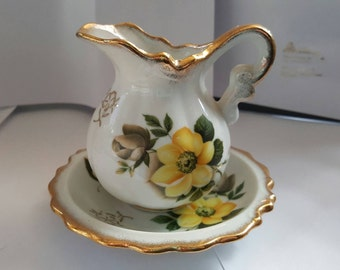 Vintage creamer with saucer, yellow roses, handpainted, made in japan