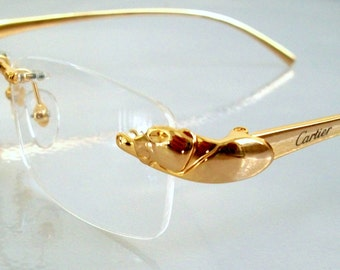 Vintage PANTHER Eyeglass Frame 18K Gold plated Rimless Glasses, Hand Made in France. For men and women. Clear Lens for your PX.