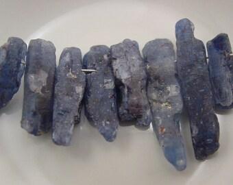 Blue Hued Kyanite Rough Natural Stick Bead - #5356 - 8 Beads
