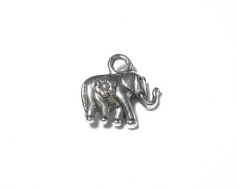 Antique Silver Small Elephant Charms Pendants Double Sided 3D 12mm Craft Supplies