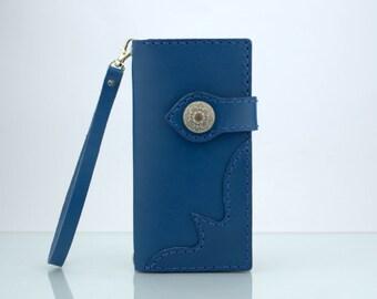 "iPhone 6s Plus Wallet Case Leather iPhone 6s Plus Wristlet iPhone 6s Plus Purse Handmade Blue Italian Leather Wallet for iPhone 6s Plus 5.5"""