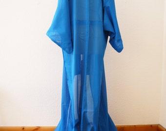 """See-through Kimono turquoise blue KIMONO robe/long kimono/Japanese vintage/""""Sha""""""""Ro"""" special fabric/Summer kimono"""