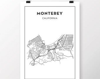 Monterey Map Etsy - Monterey on us map