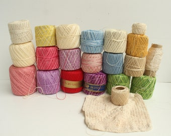 Lot of Crochet Thread Assorted Colors, Clark's, J&P Coats, 20 Spools, Crocheting Supplies, Destash, Cotton Thread