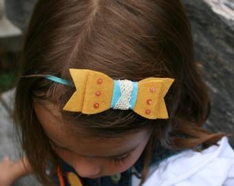 m2m Superhero: Felt bow headband or hair clip, m2m Well Dressed Wolf's Homespun Hero dress/cape set