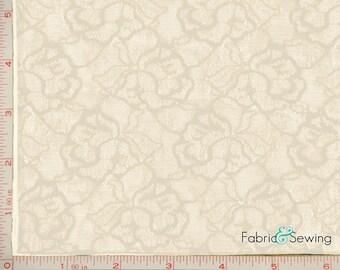 "Cream Beige Rose Flower Lace Fabric 4 Way Stretch Nylon  52-54"""