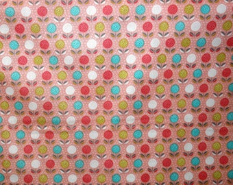 SALE - Fabric - Dashwood studios - Buds & Bloom, coral, cotton print.