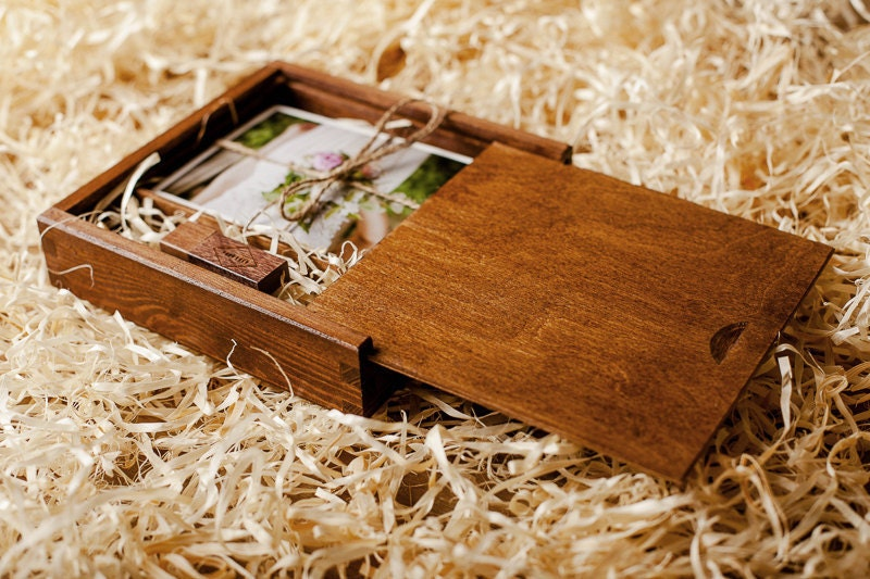 Wooden Box For Prints USB flashdrive 8 GB Packaging For