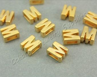 M Gold Letters, 2 pcs Alphabet Beads, Matte Gold Alphabet Letters, 24K Gold Plated, Flat Alphabet Letter Bead, ABC Letter Bead Findings