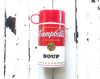 Campbell's soup thermos // vintage soup thermos // pop art Andy Warhol soup can