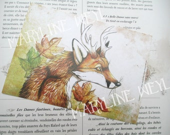 P.o. Fox and autumn leaf card