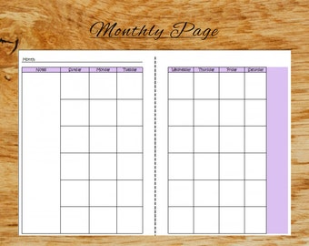 MONTHLY *A5* planner page