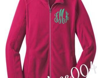monogrammed jacket, monogrammed coat, fleece jacket, fushia