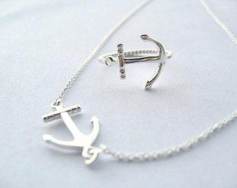 Sideway Anchor Set  - Sterling Silver
