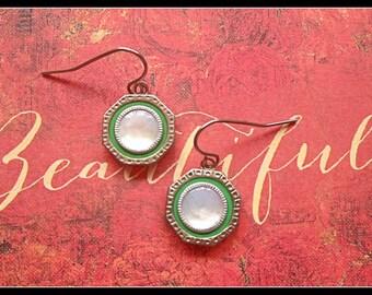 1920s Art Deco Cufflink Earrings, Green, Mother of Pearl