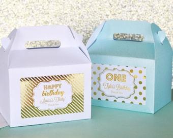 Personalized Metallic Foil Mini Gable Boxes (set of 24) - Birthday
