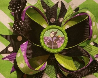 Layered hair bow maleficent over the top